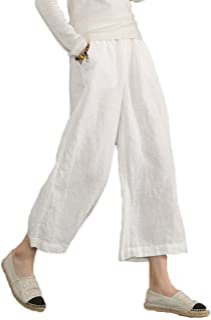 b3ef5186b27 Ecupper Womens Casual Loose Plus Size Elastic Waist Cotton Trouser Cropped  Wide Leg Pants