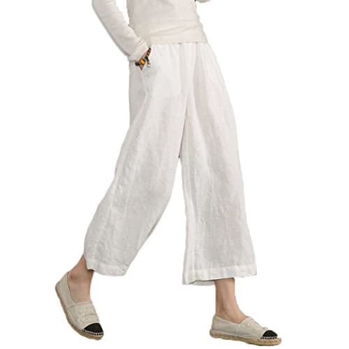 18e11607e609f Ecupper Womens Casual Loose Plus Size Elastic Waist Cotton Trouser Cropped  Wide Leg Pants
