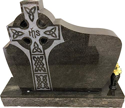 Headstone India Green Granite Monument with Carved Celtic Cross MN-269