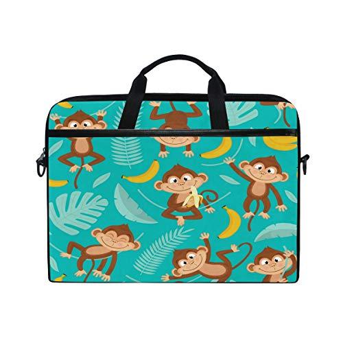iRoad Canvas Laptop Bag Cartoon Monkey Banana Leaf Laptop Bag Case with Shoulder Strap Computer Bag for Women Men Business 14-15 Inch