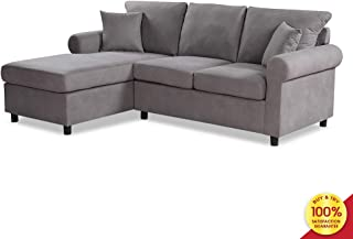Sectional Sofa Set, 2 Pieces 3 Seaters Modern Linen Fabric L-Shaped Couch, Perfect for Living Room Furniture, Gray