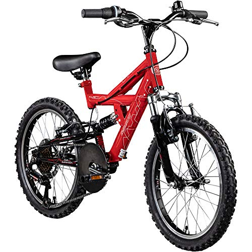 Kinderfahrrad MTB 18 Zoll Fully Galano FS180 Fahrrad Full Suspension ab 5 Jahre (rot, 28 cm)