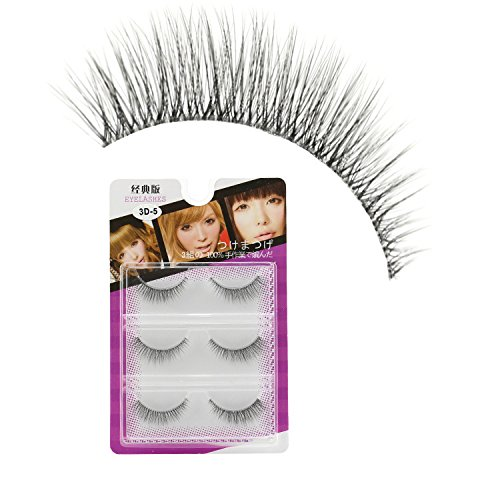 3 Pairs lowest price Natural False Eyelashes LASGOOS 0.05mm Thickness Ranking TOP4 Clear B