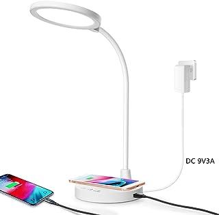Lampe de table LED avec chargeur sans fil rapide Port de charge USB Dimmable desk lamp pour bureau à domicile Luminosité r...
