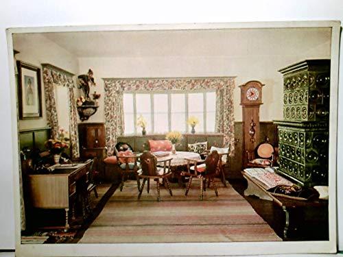 Haus Wachenfeld in Berchtesgaden, Obersalzberg. Landhaus Innenraum. Alte AK farbig. Kamin, Sitzgruppe, Standuhr