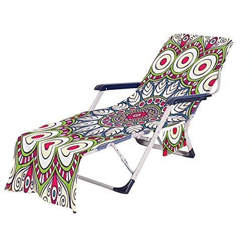 Funda de Silla de Playa con Bolsillo,3D Retro Bohemia India Mandala Flores Impresión Portáti Microfibra Toalla de Playa,para Piscina, Baño al Aire Libre,Jardín (Color 2, 75 × 210 cm)