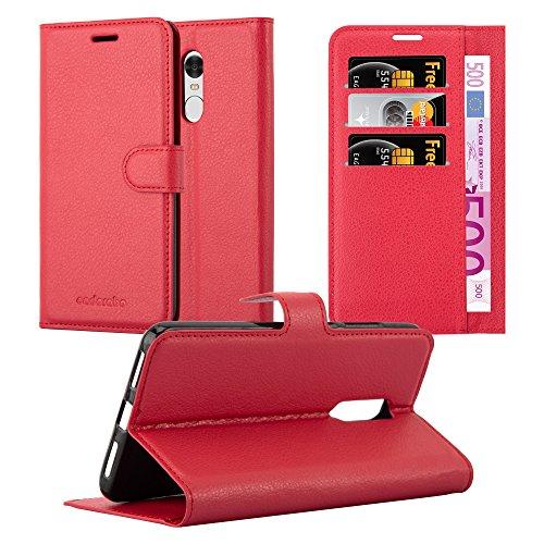 Cadorabo Funda Libro para Xiaomi RedMi Note 4 en Rojo CARMÍN - Cubierta Proteccíon con Cierre Magnético, Tarjetero y Función de Suporte - Etui Case Cover Carcasa