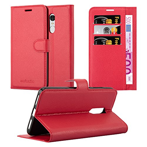 Cadorabo Custodia Libro per Xiaomi RedMi Note 4 in Rosso Carminio - con Vani di Carte, Funzione Stand e Chiusura Magnetica - Portafoglio Cover Case Wallet Book Etui Protezione