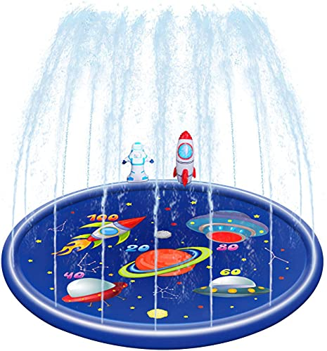 YUYTIN Sprinkler & Splash Play Mat, Wading Pool for Learning, 170CM Inflatable Water Pad Outdoor Lawn Swimming Pool