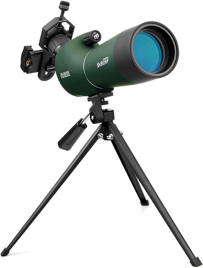 1179 opinioni per Svbony SV28 Cannocchiale, 20-60x60 Telescopio Spotting Scope, FMC Ottica Bak4