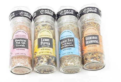Spices with Built-in Grinder Trader Joes Lemon Pepper, Garlic Salt, Everyday Seasoning and Himalayan Pink Salt-
