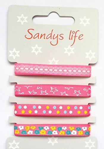 4 x 1 m Ripsband/Satinband pink 4 Design`s 10 mm breit