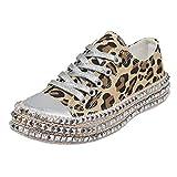 LILIGOD Damen Leopard Canvas Schuhe Casual Schnürschuhe Segeltuchschuhe Hanfseil Dicker Boden Low-Top Schuhe Flache Strass Freizeitschuhe Sneaker Espadrilles