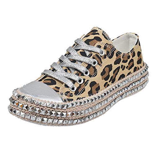 〓COOlCCI〓Women Fashion Leopard Rivet Embellished Lace-Up Sneakers Round Toe Low Top Sneakers Flat Walking Canvas Shoes Brown