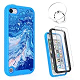 iPod Touch 7th/6th/5th Generation Case, Lumenair 2 in 1 Shockproof iPod Case + Tempered Glass Screen Protector + Finger Ring Stand, Hybrid Heavy Duty Protection Shock Resistant Cover Case-Marble Blue