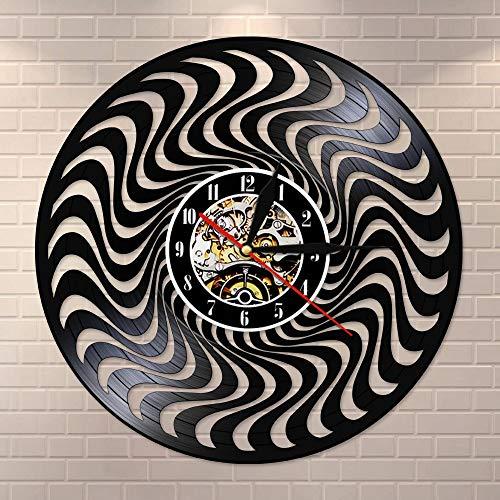 wtnhz LED-3D círculo distorsionado en Blanco y Negro Disco de Vinilo Vintage Arte de Pared Reloj de Pared Reloj de ilusión óptica Movimiento silencioso