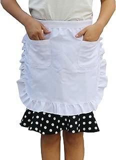 YuBoBo Half Apron White with 2 Pocket, Coffee Apron Adjustable, Restaurant Apron, Classic Apron, Halloween/Christmas Cosplay Apron, Easy Clean Fabric