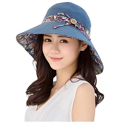 Hapee Mujer Sol Sombrero HINDAWI verano Reversible, UPF 50+–Gorro de playa plegable tapa de ala ancha