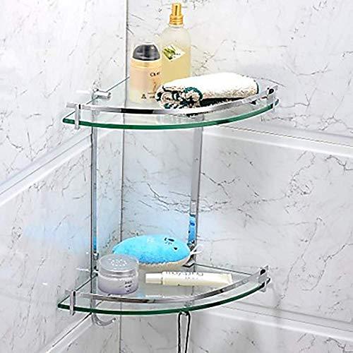 BJLWTQ Barra de toalla, Bella moderna doble festoneado de cristal Triángulo plataforma de baño moderno de acero inoxidable/Cristal 1 - Hotel Baño rack/estante de múltiples funciones Estante de cha