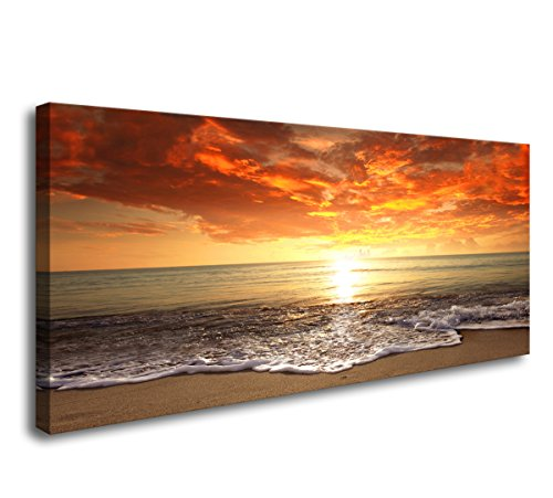 Baisuart-S0162 Canvas Prints Wall Art Sunset Ocean Beach Pictures Photo Paintings for Living Room Bedroom Home Decorations Modern Stretched and Framed Seascape Waves Landscape Giclee Artwork