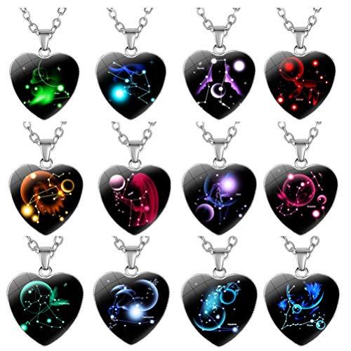 jojofuny 12 peças Colar com pingente de constelação em formato de coração, horóscopo, corrente clavícula, signo do zodíaco, astrologia, suéter, corrente de aniversário para mulheres, meninas, cores sortidas
