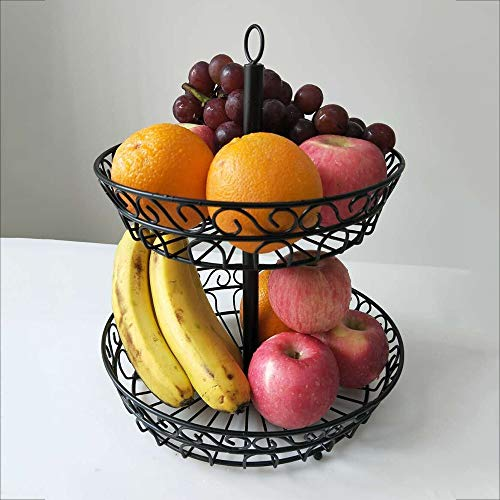 QMZDXH 2 Obst Etagere,Obstschale Metall ObstkorbLagerung Inhaber Dekorative Schüssel Stehen für Gemüse Snacks Schwarz Weiß Gold