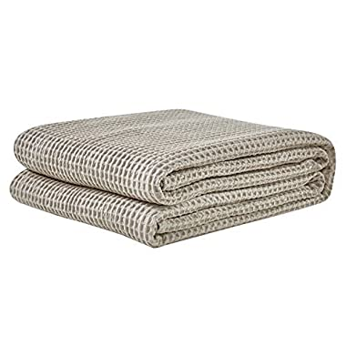 PHF Waffle Weave Blanket 100% Cotton Breathable Warm Right Weight for Winter and Summer Queen Size Khaki