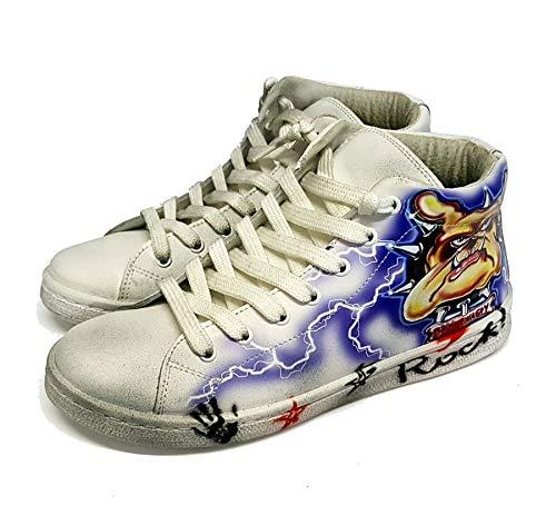 Sneakers Unisex Turnschuhe handbemalt mit Airbrush mit differenziertem Design (37 EU)