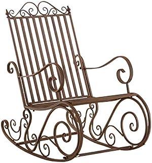 Mecedora De Hierro Smilla I Mecedora Relax De Jardín I Mecedora De Exterior En Estilo Rústico I Sillón Mecedora De Balcón o Terraza I Color:, Color:marrón