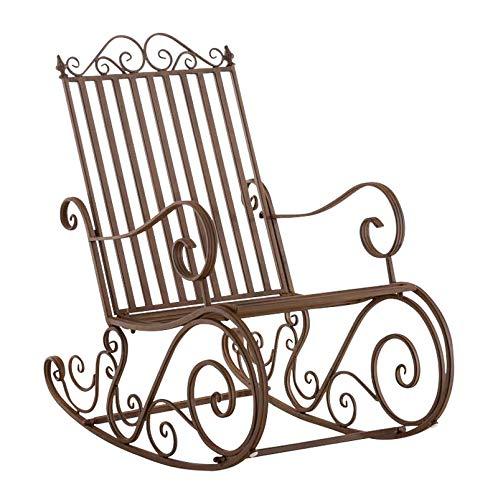 CLP Eisen-Schaukelstuhl SMILLA im Landhausstil I Schwingstuhl mit hoher Rückenlehne I erhältlich, Farbe:braun