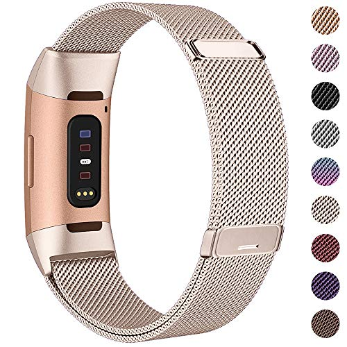 HAPAW Bands Compatible with Fitbit Charge 3, Women Men Metal Stainless Steel Replacement Accessories Straps Bracelet Compatible with Fitbit Charge 3 SE Fitness Tracker Small Large