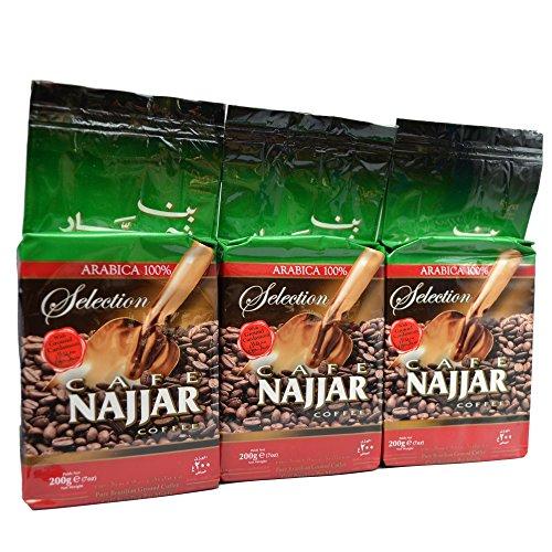 Najjar Arabica 100% Kaffee mit gemahlenem Kardamom 200g (3er Pack)
