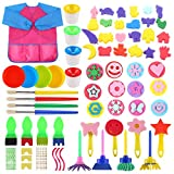 SULOLI 61 Pieces Sponge Drawing Brushes Kits for Kids, Foam Paint Brushes Set, Paint Pots, with Apron
