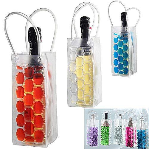 Molinter Flaschenkühler Flaschen Kühltasche PVC Rotwein Weineisbeutel Tasche mit Eisgel zum einfrieren Sektkühler Weinkühler Zufällige Farbe