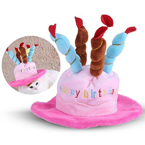 HEEPDD Huisdier Verjaardag Hoed, Verjaardag Cake Kaarsen Ontwerp Huisdier Cap Kostuum Bedels Verzorging Accessoires voor Katten Honden Kleine Dieren, roze