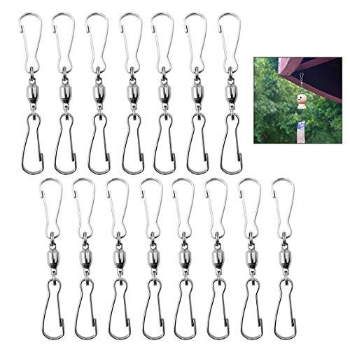 iwobi 15 stuks Swivel Clip haken roestvrij staal dubbele clip voor het ophangen van windspel voor windgongs hangplanten