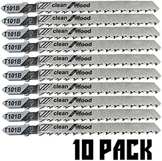 T101B T-Shank Contractor Jig saw Blades - 4 Inch 10 TPI Jigsaw Blades Set(10Pack)- Made for High Speed Carbon Steel, Clean and Precise Straight Cutting Wood Boards PVC Plastic