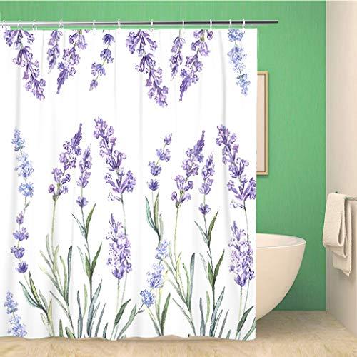 Awowee - Cortina de Ducha Decorativa, diseño de Flores Coloridas, Acuarela de Lavanda para proyectos, Color Morado (180 x 180 cm), Tela de poliéster Impermeable, con Ganchos para el baño