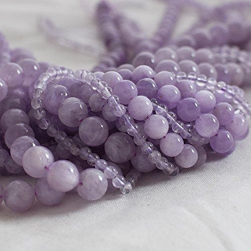 Haute qualité Grade A Naturel Violet lavande Mauve Jade Pierre précieuse de pierres semi-précieuses Perles rondes – 4 mm, 6 mm, 8 mm, 10 mm Tailles – 39,4 cm Strand, violet, approx 10mm (39-42 beads)