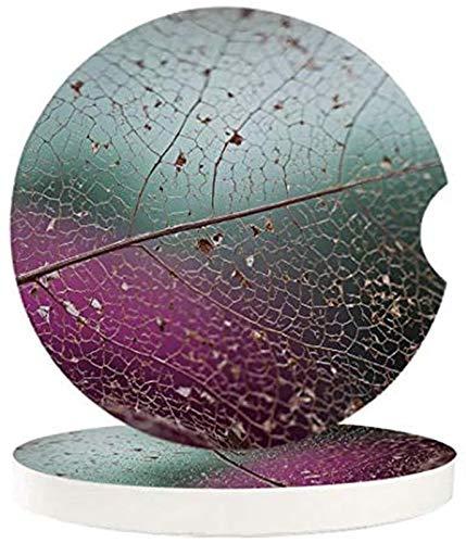 Posavasos de coche para hombres, 4 piezas, textura de hojas, con textura de hojas, posavasos de piedra de cerámica absorbente con una muesca de dedo para una fácil extracción de la cubeta automática
