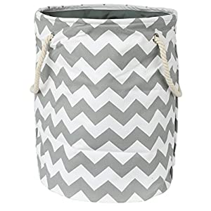 Modern Littles Standing, Folding Laundry Basket, Grey Chevron – Collapsible Bin for Toys – Bedroom Organizer – Foldable Bin with Large Capacity. Adult and Kids Kid's Room Décor