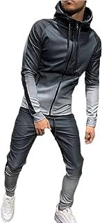 Sodossny-AU Mens Gradient Color Autumn Hip Hop Hooded Sweatshirt+Pants Sets Tracksuit
