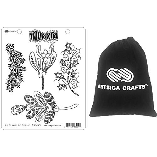 Ranger Ink Dyan Reaveley's Dylusions Cling Stamp 8.5 x 7 inches Kiss Me Under The Mistletoe Bundled with 1 Artsiga Crafts Small Project Bag