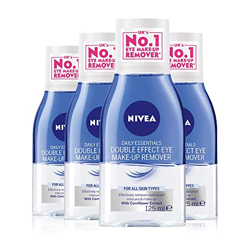 NIVEA Double Effective Eye Make-up Remover Pack of 4 (4 x 125ml) Powerful...