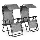 VonHaus Set of 2 Heavy Duty Textoline Zero Gravity Chairs with Canopy