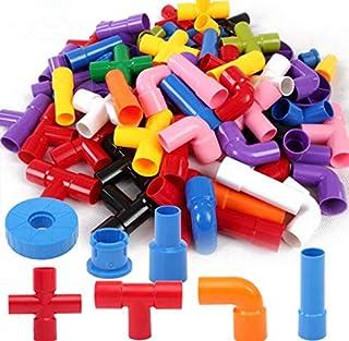 Building Blocks, Tube Blocks Set Assembling Puzzle Toys DIY Pipeline Blocks with Wheels 72 pcs Interlocking Set Constructi...