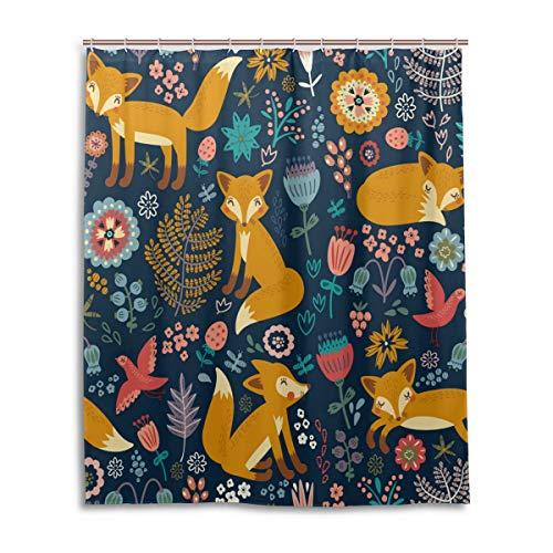 Naanle Niedlicher Duschvorhang mit Tierfuchs-Motiv, Blumen, fliegende Vögel, Füchse, wasserdicht, schimmelresistent, Polyestergewebe, Badezimmer-Duschvorhang-Set mit Haken, 152,4 x 183,9 cm