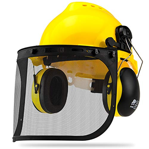 NEIKO 53880A Forestry Safety Helmet with Earmuffs | Hi Viz Yellow Color | Face Shield Protection | Steel Mesh and Clear Face Shields Included | Heavy Duty Construction Hard Hat | Adjustable Size