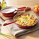 BrylaneHome 3 Piece Cast Iron Enameled Skillet Set Cookware, Red