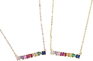 ATJMLADY Baguette Cubic Zirconia Delicate Gold Chain Rainbow Colorful Choker Engagement Bridal Jewelry Sparking Short Choker Necklace